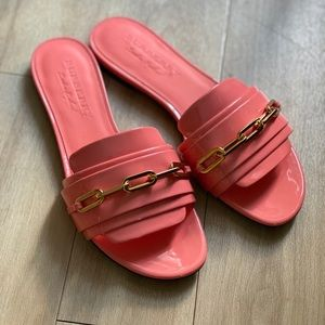 NIB Burberry Patent Pink Coleford Slide Sandals
